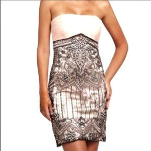 Sue Wong Pink & Black Beaded Cocktail Dress L141